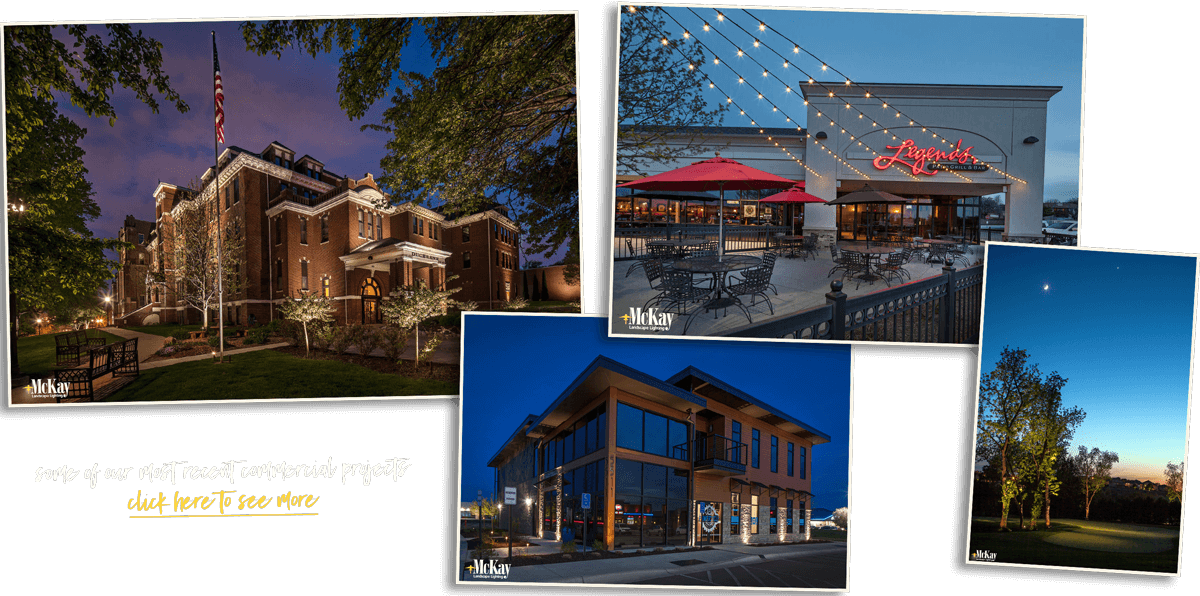 The scope of our work has expanded as well to include more commercial landscape lighting projects. While residential lighting will always be at the core of what we do, we've enjoyed adding beauty and security to school campuses, businesses, restaurants, and more. Click to learn more about McKay Landscape Lighting.