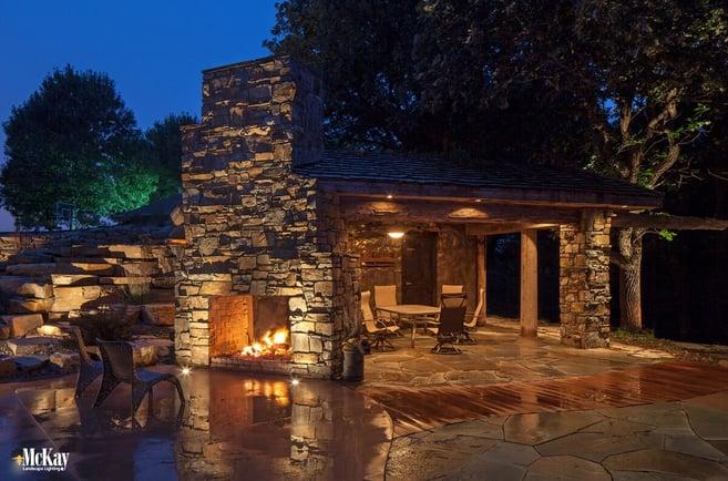 Outdoor Living Fireplace Fire Pit Landscape Lighting