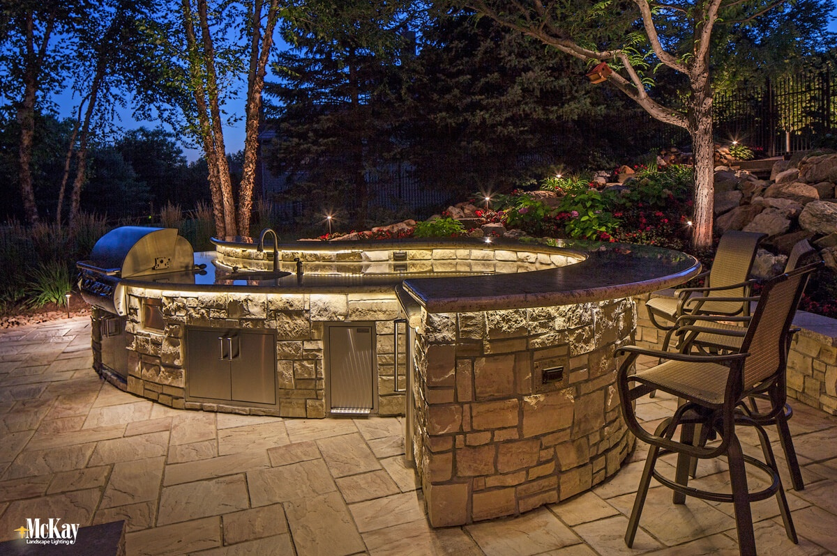 outdoor kitchen grill lighting ideas omaha nebraska mckay landscape lighting