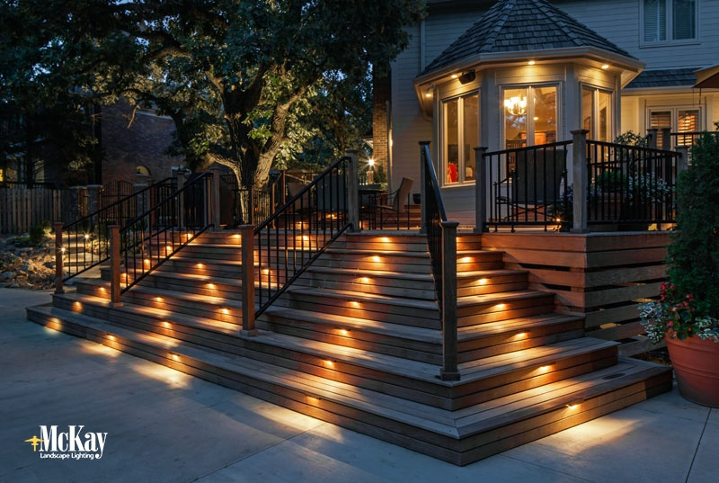outdoor stair lighting. Seat Wall Deck Lighting Outdoor Stair  McKay Keeps Your Living Area Safe