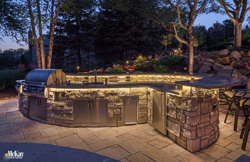 Outdoor Kitchen With Soapstone Counter Custom Landscape Lighting