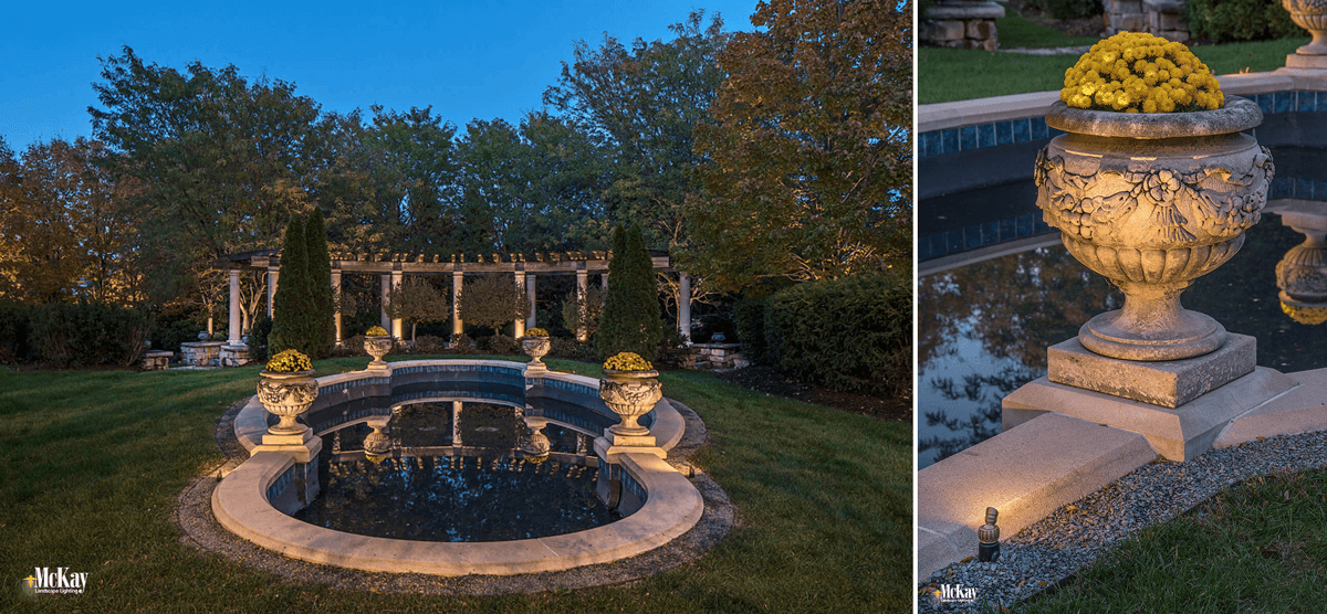 The reflecting pond is a quiet, beautiful space on the property. We used a new, mini uplight to gently light the planting containers along the pond.  Click to learn more about the lighting design... | McKay Landscape Lighting - Omaha, Nebraska