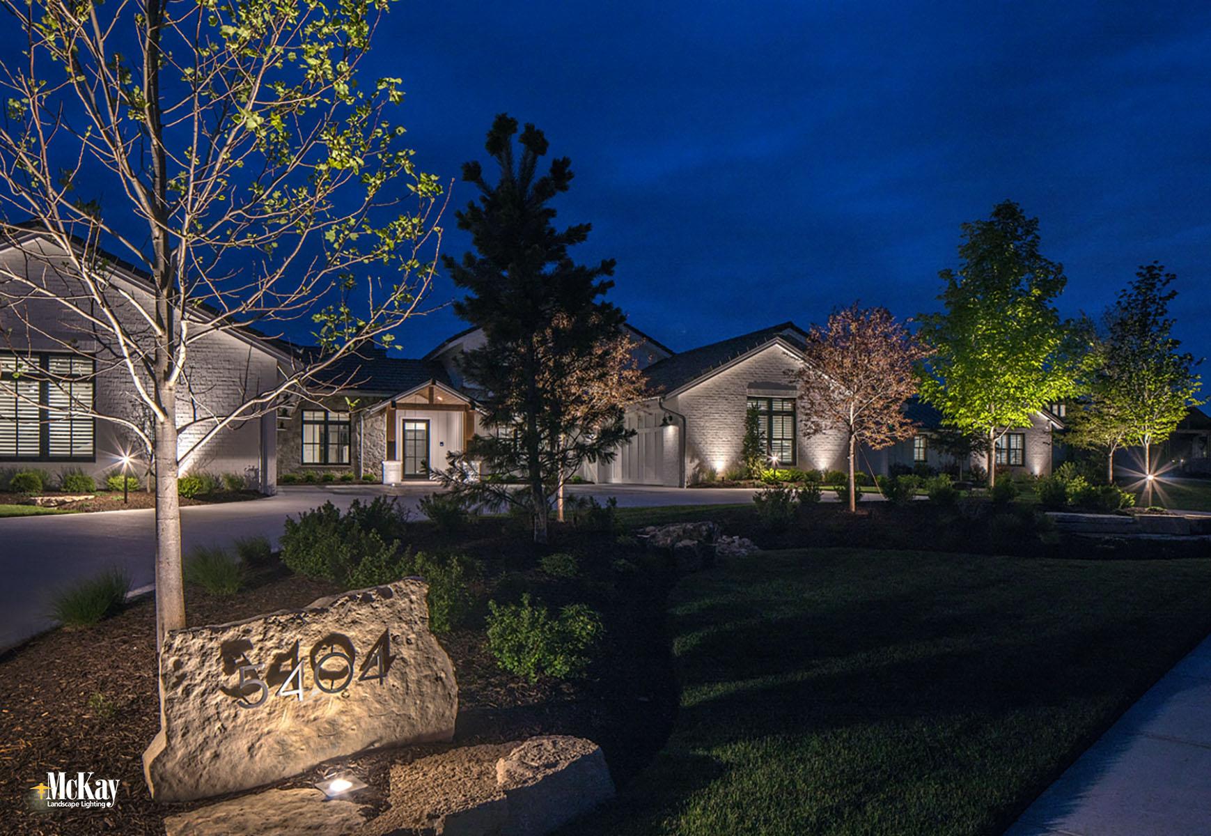Lake House Address Numbers Lighting Bluewater Lake Valley Nebraska McKay Landscape Lighting