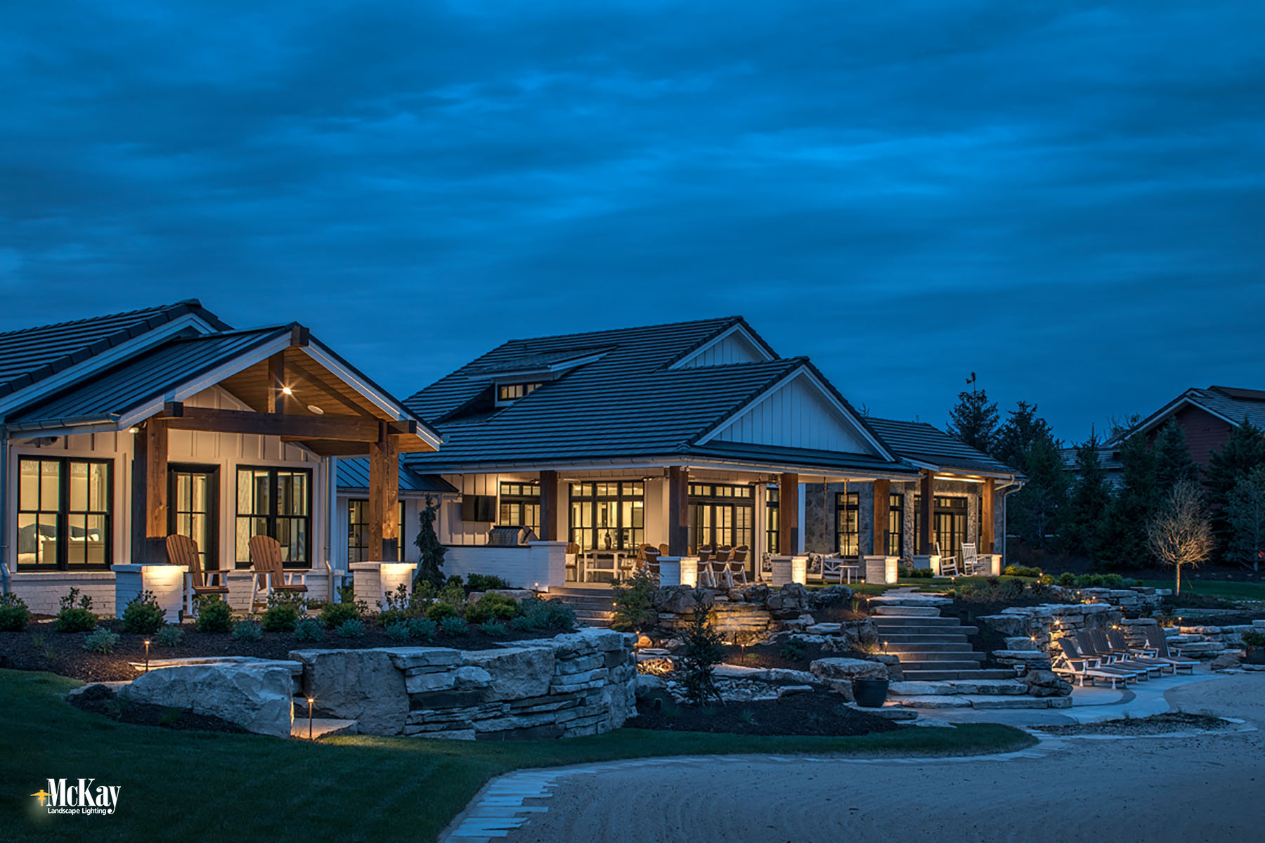 Simple Lake House Backyard Patio Lighting Ideas Bluewater Lake Valley Nebraska McKay Landscape Lighting