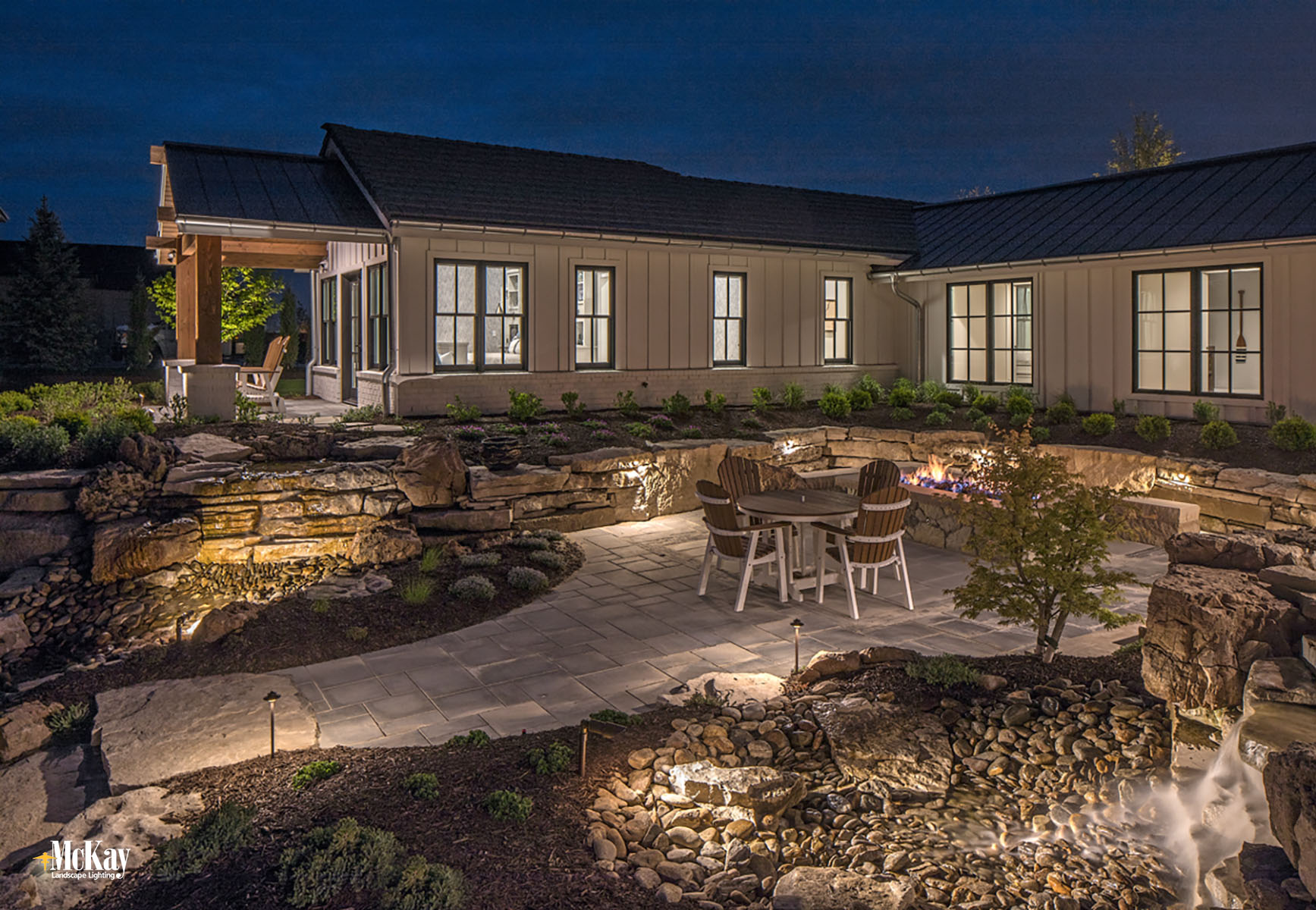 Lake House Outdoor Patio Lighting Design Ideas Bluewater Lake Valley Nebraska McKay Landscape Lighting