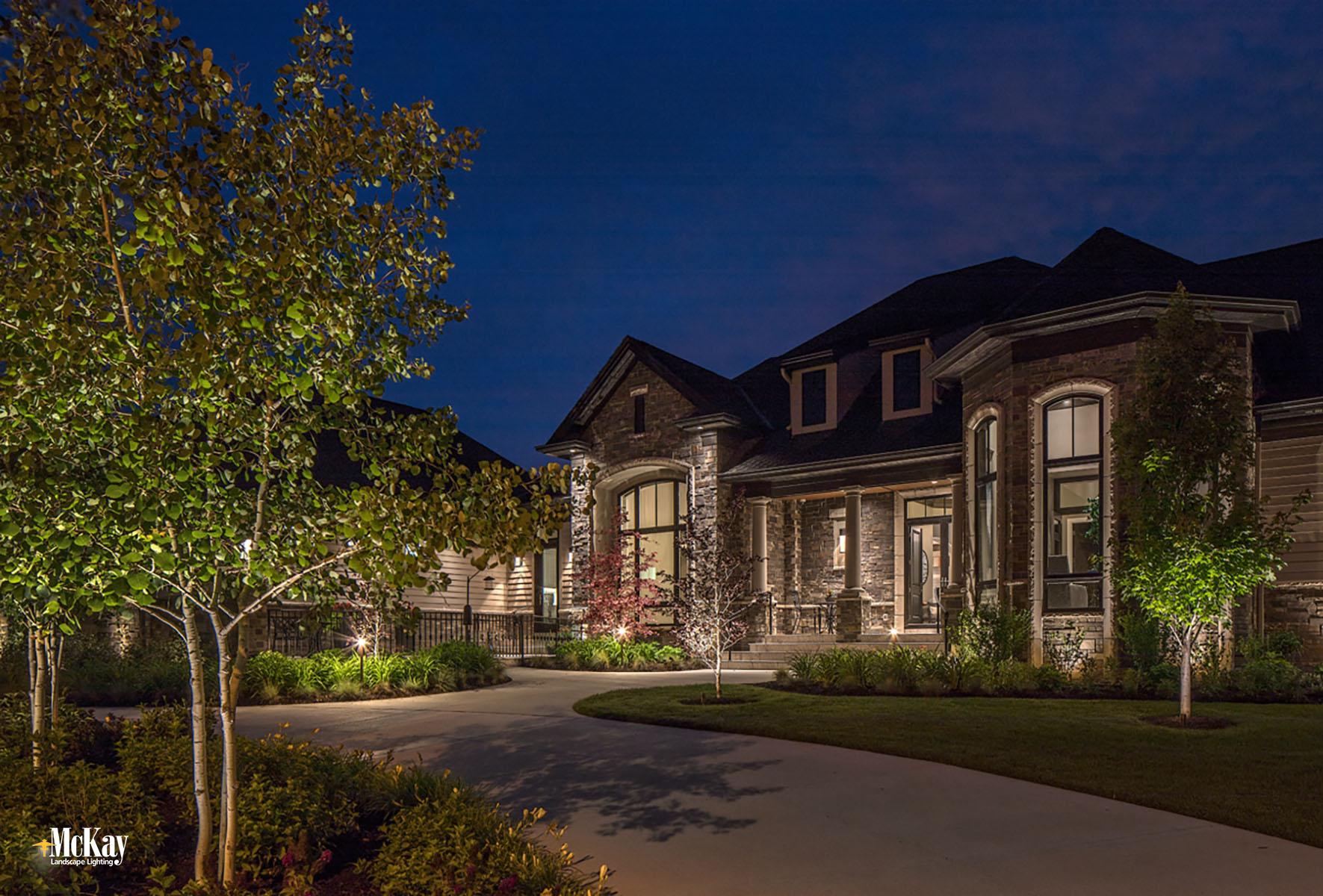 Landscape Lighting Design - Front House Outdoor Security Lighting Elkhorn Nebraska | McKay Landscape Lighting