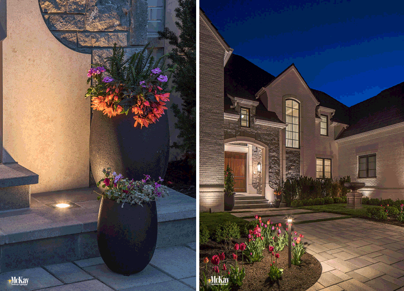 A well-lit entryway provides increased safety and security. You can illuminate this area while enhancing the architectural features of your home.  Learn and see more well lighting ideas...   McKay Landscape Lighting - Omaha Nebraska
